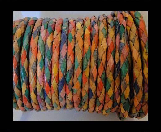 Cordon Cuir tressé - SE/MD/01 - multicoloured - 3mm