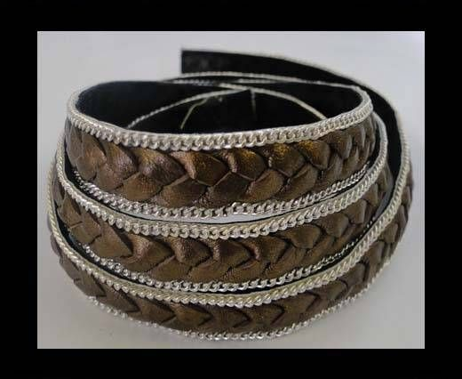 Braided Leather with silver chain--14mm-Metallic Bronze