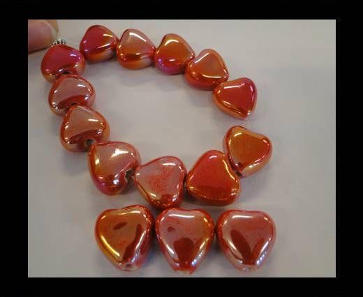 CB-Ceramic Heart - Red AB