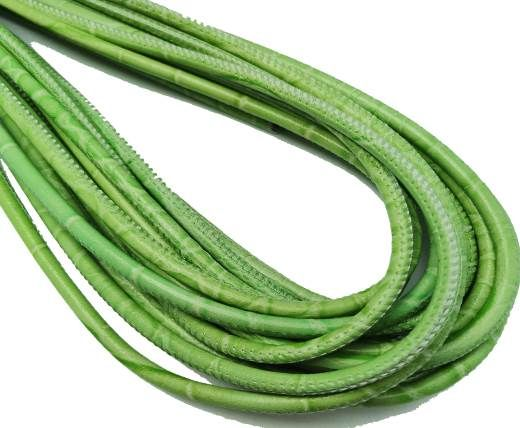 Round Stitched Nappa Leather Cord-4mm-crocodile style green