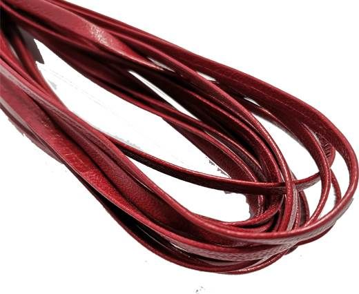 Flat Nappa Leather cords - 5mm - dark red