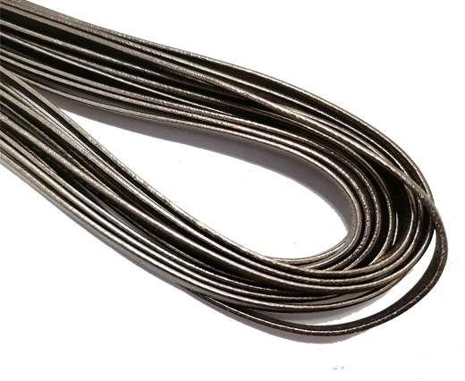 Flat Nappa Leather cords - 5mm - dark silver