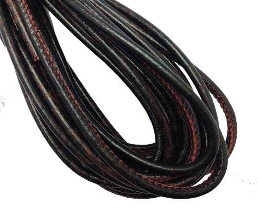 Round Stitched Nappa Leather Cord-4mm-deep wine red