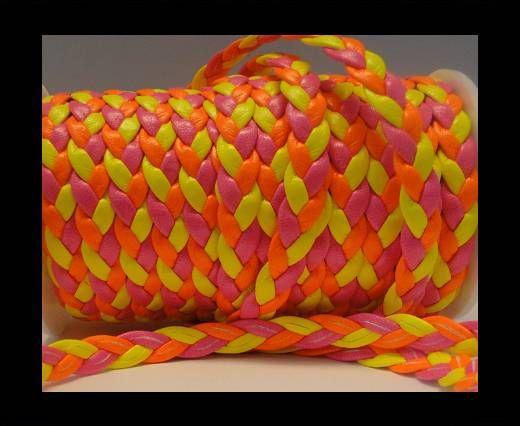 Corde éco plate tressée - Style 6 - 8mm - Fluo multicolore rose
