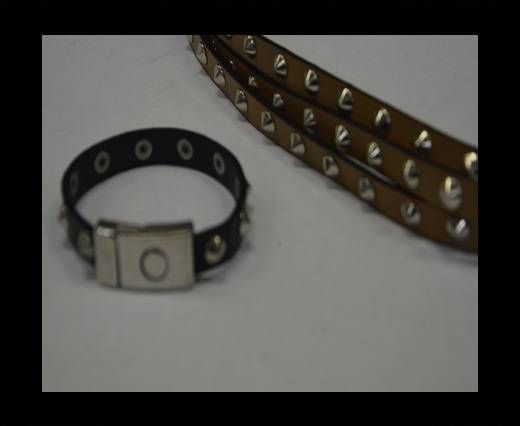 Eco Leather with Metal 10mm-Dark Brown