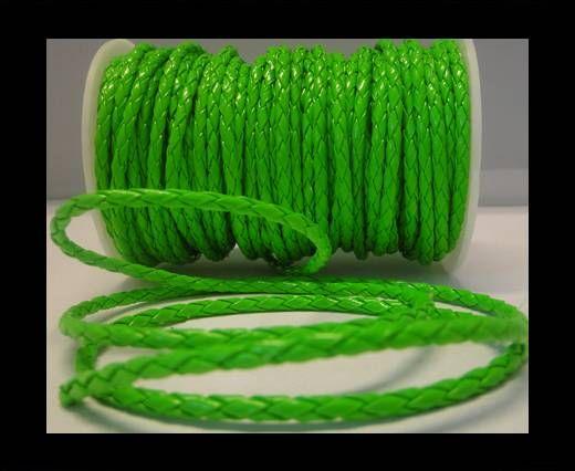 Cuir rond tressé - 4mm - Vert fluo