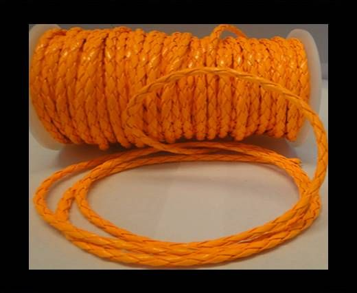 Cuir éco rond tressé - 4mm - Orange fluo