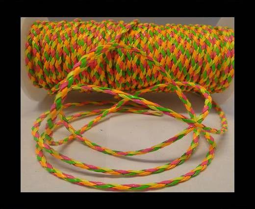 Cuir éco rond tressé - 3mm - Fluo multicolore