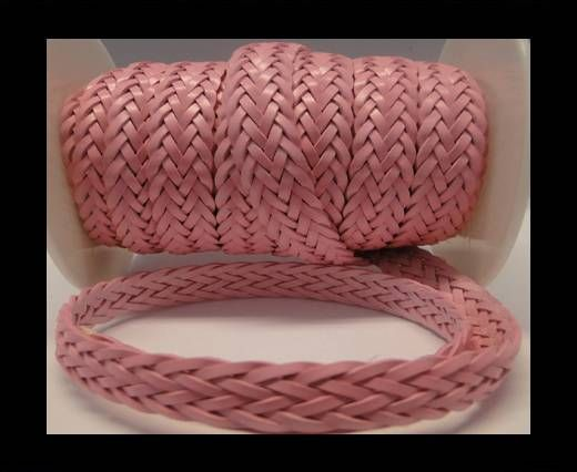 Corde plate tressée - Style 2 - 12mm - Rose