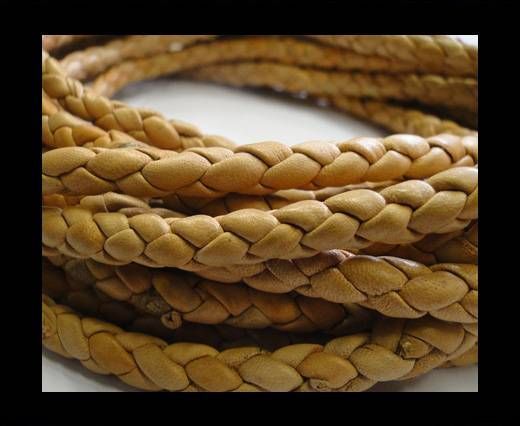 Fine Braided Nappa Leather Cords-Tan colour-6mm