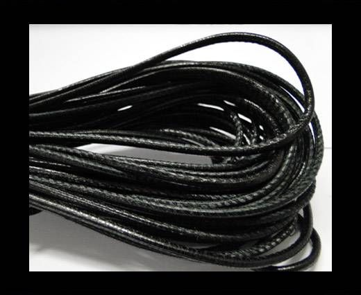 Fine Nappa Leather Round plain style -Black-2,5mm