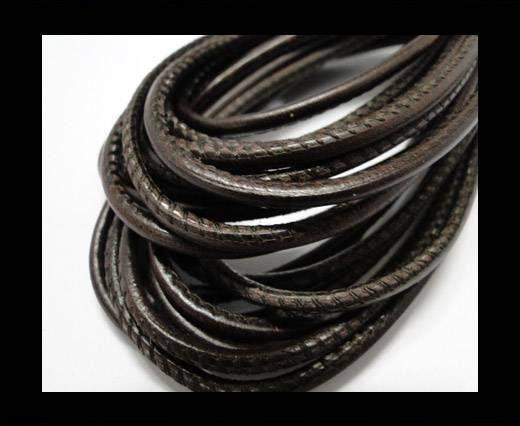 Fine Nappa Leather Round plain style -Vintage dark brown-2,5mm