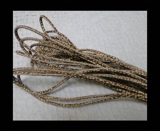 Fine Nappa Leather Round 2,5mm - Strobel Snake Patch Style Coffe