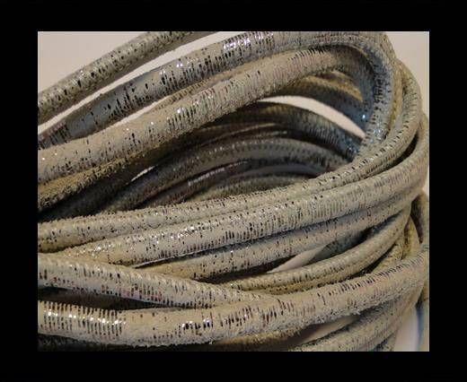 Cuir Nappa raffiné - Snake Style - Gris métallique - 4mm