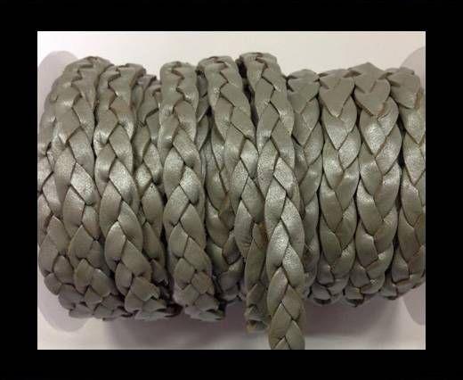 Flat 3-ply Braided Leather Metallic-SE-Metallic Grey-10MM