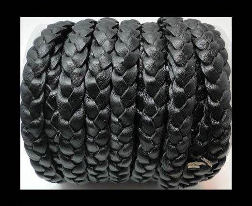 Flat 3-ply Braided Leather-SE-Vintage Black-10MM