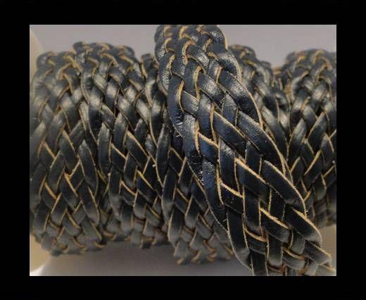 Corde plate tressée - Style 4 - 18mm - Bleu foncé