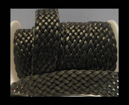 Corde plate tressée - Style 5 - 25mm - Noir