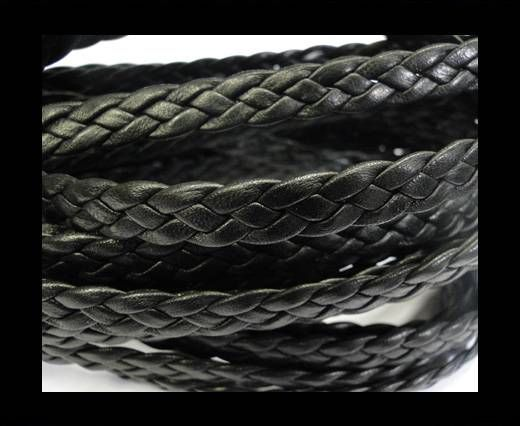 Flat Braided Nappa Leather Cords 8mm Black