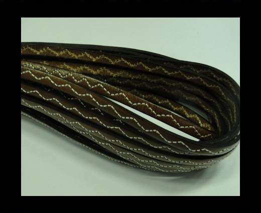 Flat Leather Cord With Wavy Stitch-5mm-Brown