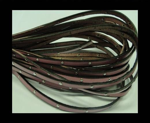 Flat Leather Cord With Steel Studs-5mm-Pink