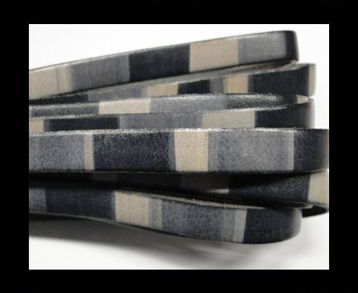 Flat Leather Cord-10mm-Stripes grey