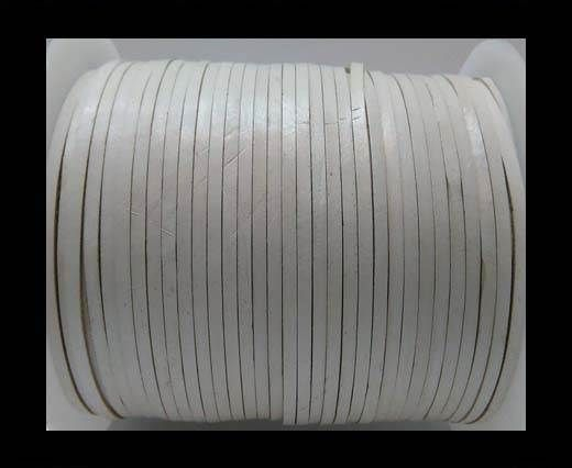 Flat Leather Cords - Cow -width 4mm-27408 - White