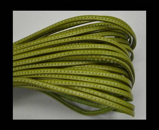 Flat leather with stitch - 3 mm - Light green