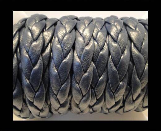 Cuir tressé plat éco - 10mm - Bleu foncé