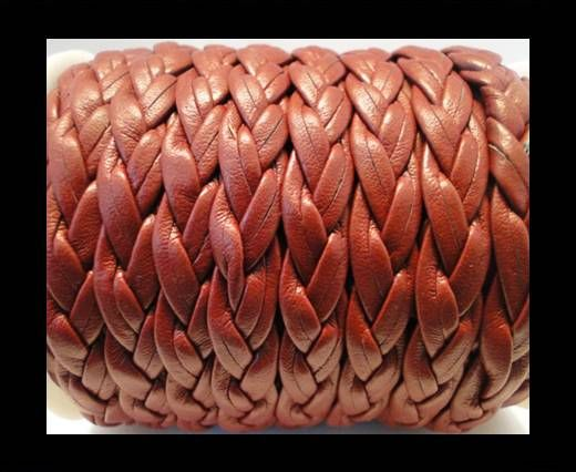 Cuir tressé plat éco - 10mm - Bordeaux