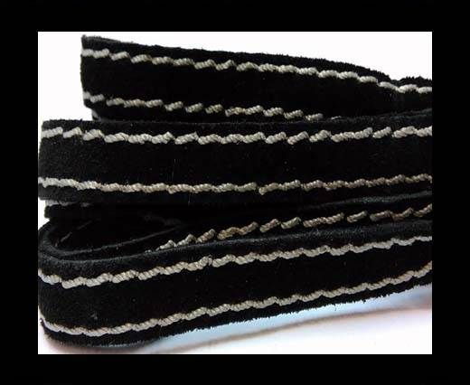 Flat Suede Leather Double Stitched 27901-Black- 10mm