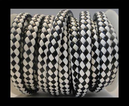 Cuir plat tressé épais - 10mm - Noir et blanc