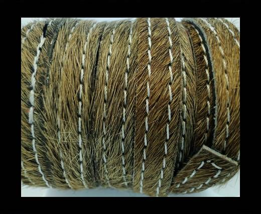 Hair-On Leather with Stitch-Light Brown-10mm
