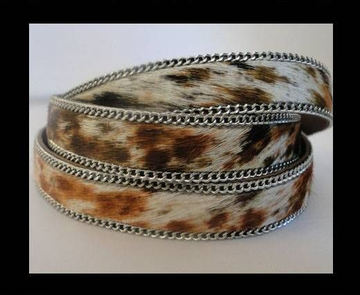 Hair-on leather with Chain - Tiger Skin - 10mm