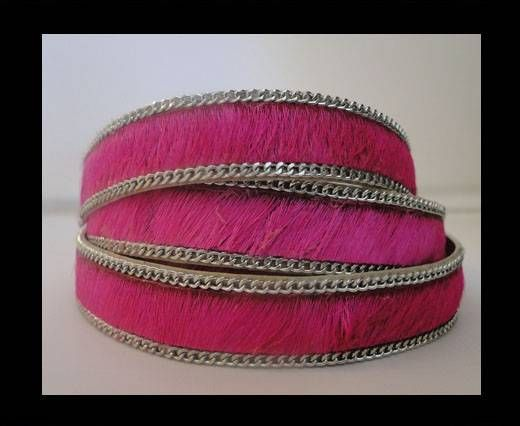 Hair-on leather with Chain - Fuchsia - 10mm