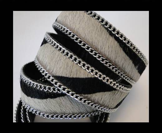 Hair-on leather with Chain - Zebra Skin - 10mm