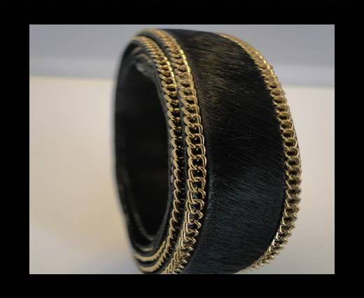 Hair-On Leather with Gold Chain-Black