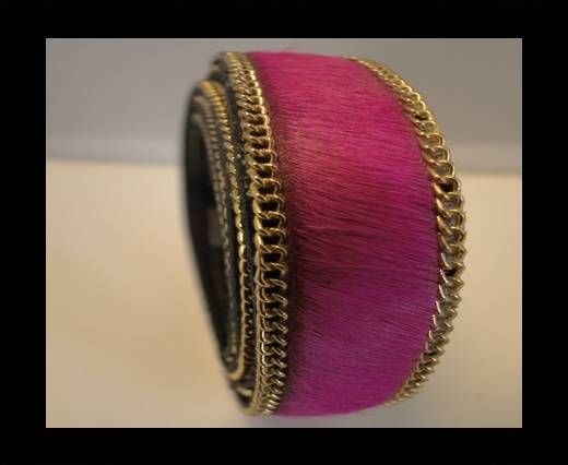 Hair-On Leather with Gold Chain-Fuchsia-Golden