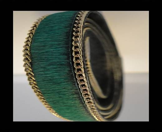 Hair-On Leather with Gold Chain-Green