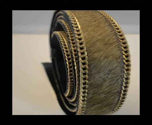 Hair-On Leather with Gold Chain-Light Brown