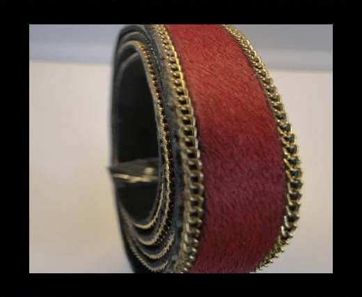Hair-On Leather with Gold Chain-Red