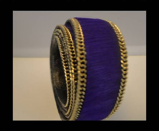 Hair-On Leather with Gold Chain-Violet