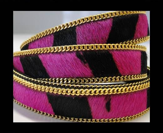 Hair-On Leather with Gold Chain-SE-Zebra Fuchsia -14mm