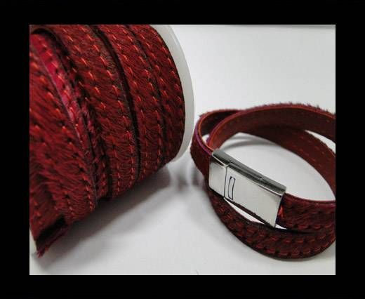 Hair-On-Leather-Cords- Stitch - 10mm- Wine Red