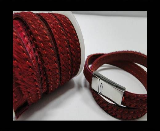 Hair-On Leather with Stitch-Wine Red -10mm