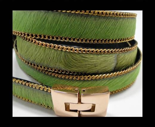 Hair-On Leather with Gold Chain- 14 mm - Parrot Green