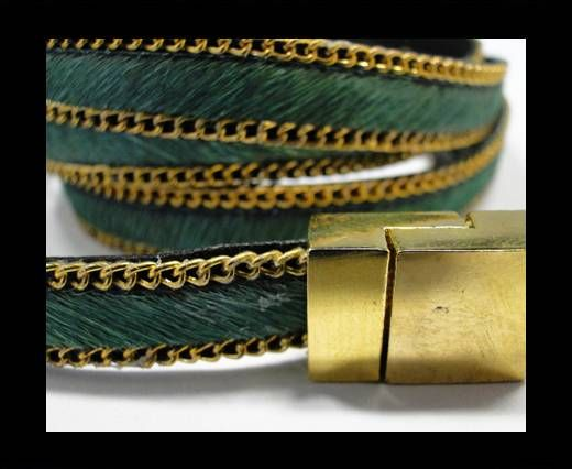 Hair-On Leather with Gold Chain- 10 mm - Green