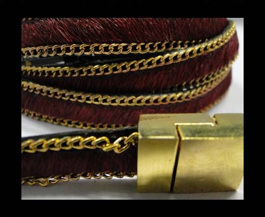 Hair-On Leather with Gold Chain-10 mm - Mehroon