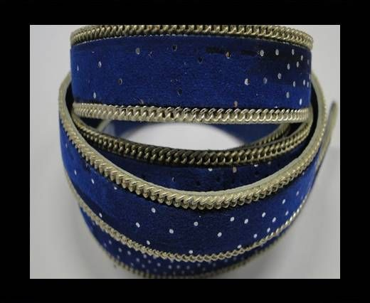 Hair-on leather with Chain - 14 mm - Blue dotted