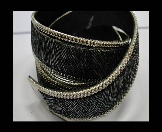Hair-on leather with Chain - 14 mm - Thin zebra print